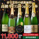【送料無料】高級辛口シャンパーニュ飲み比べ豪華5本セット (フランス シャンパーニュ 白泡)