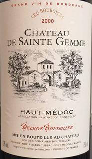 Ch. de Sainte Gemme(シャトー・ド・サント・ジェム)