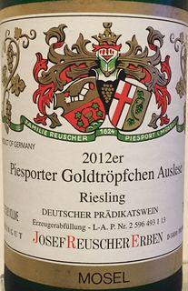 Josef Reuscher Erben Piesporter Goldtröpfchen Riesling Auslese(ヨゼフ・ロイシャー ピースポーター・ゴールドトロッフェン リースリング アウスレーゼ)