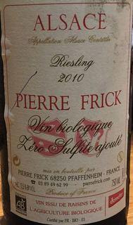 Pierre Frick Riesling Vin Biologique Zéro Sulfite ajouté