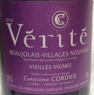 Christophe Cordier Vérité Beaujolais Villages Nouveau Vieilles Vignes