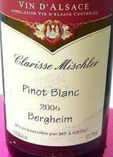 Clarisse Mischler Pinot Blanc Bergheim