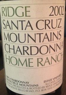 Ridge Santa Cruz Mountains Chardonnay Home Ranch 2002