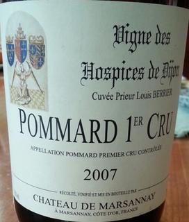 Vigne des Hospices de Dijon Pommard 1er Cru Cuvée Prieur Louis Berrier