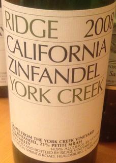 Ridge California Zinfandel York Creek 2008