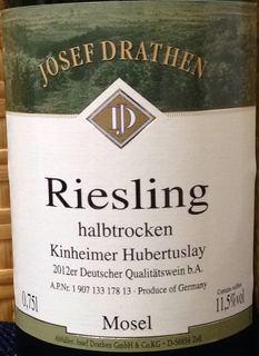Josef Drathen Kinheimer Hubertuslay Riesling halbtrocken