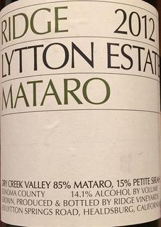 Ridge Lytton Estate Mataro 2012
