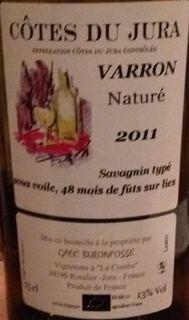Buronfosse Côtes du Jura Varron Naturé