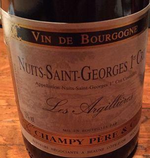 Champy Père et Cie Nuits Saint Georges 1er Cru Les Argillieres(シャンピー ニュイ・サン・ジョルジュ プルミエ・クリュ レ・ザルジリエール)