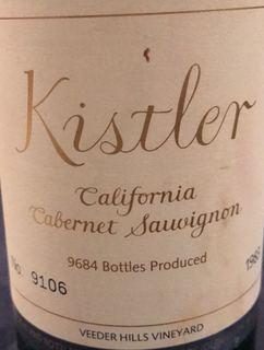 Kistler California Cabernet Sauvignon Veeder Hills Vineyard