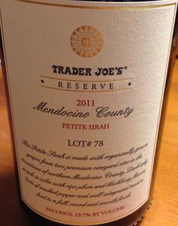Trader Joe's Mendocino County Reserve Petite Sirah Lot# 78