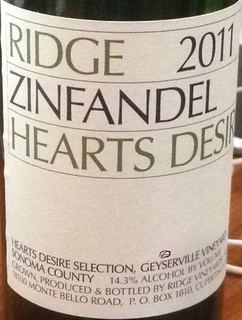 Ridge Hearts Desire Zinfandel 2011