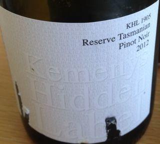 Kemenys Hidden Label KHL 1905 Reserve Tasmanian Pinot Noir