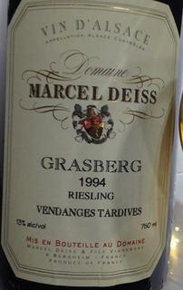 Marcel Deiss Grasberg Riesling Vendanges Tardives