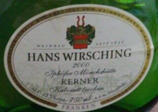 Hans Wirsching Iphöfer Mönchshütte Kerner Kabinett Trocken