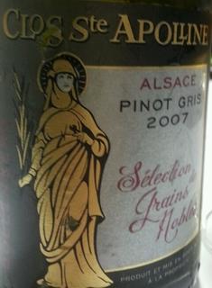 Bollenberg Clos Ste Apolline Pinot Gris Sélection Grains Nobles