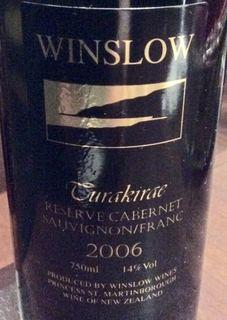 Winslow Turakirae Reserve Cabernet Sauvignon / Franc(ウィンスロー トゥラキラエ リザーヴ カベルネ・ソーヴィニヨン フラン)