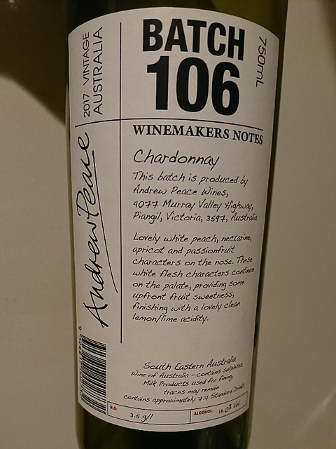 Winemakers Notes by Andrew Peace Batch 106
