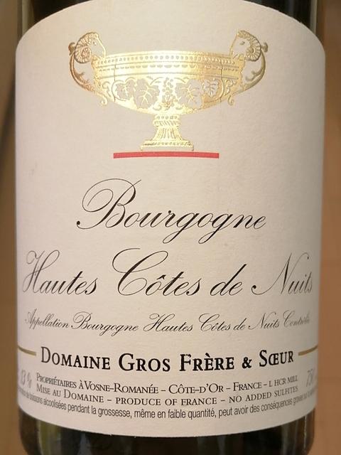 Dom. Gros Frère et Soeur Bourgogne Hautes Côtes de Nuits Rouge