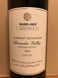 Trader Joe's Reserve Cabernet Sauvignon Alexander Valley Lot# 167(トレーダー・ジョーズ リザーヴ カベルネ・ソーヴィニヨン アレキサンダー・ヴァレー)