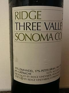 Ridge Three Valleys Sonoma County(リッジ スリー・ヴァレー ソノマ・カウンティ)