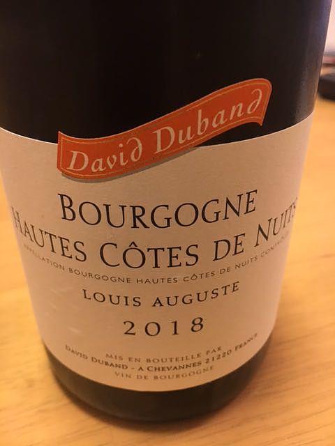 David Duband Bourgogne Hautes Côtes de Nuits Louis Auguste Pinot Noir(ダヴィド・デュバン ブルゴーニュ オート・コート・ド・ニュイ ルイ・オーギュスト ピノ・ノワール)