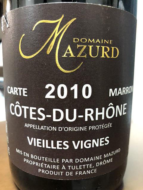 Dom. Mazurd Côtes du Rhône Carte Marron