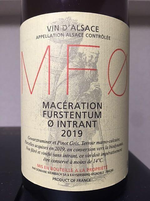 Dom. Weinbach MF0 Macération Furstentum 0 Intrant(ドメーヌ・ヴァインバック マセラシオン フュルステンテュム ゼロ アントラン)