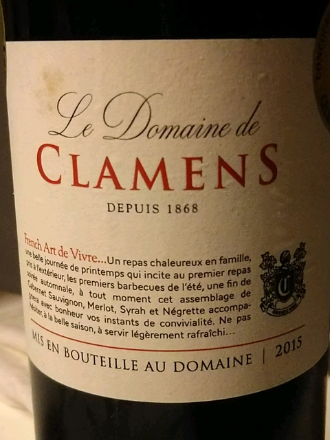 Le Dom. de Clamens Comté Tolosan Rouge(ドメーヌ・ド・クラマン コンテ・トロザン ルージュ)