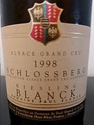 ブランク リースリング グラン・クリュ シュロスベルグ(1998)