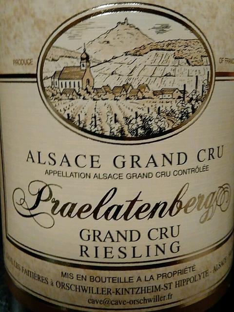 Cave Vinicole Orschwiller Riesling Praelatenberg Grand Cru
