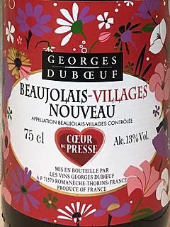 Georges Duboeuf Beaujolais Villages Nouveau Coeur de Presse