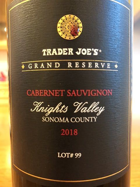 Trader Joe's Grand Reserve Knights Valley Cabernet Sauvignon(トレーダー・ジョーズ グラン・リザーヴ ナイツ・ヴァレー カベルネ・ソーヴィニヨン)