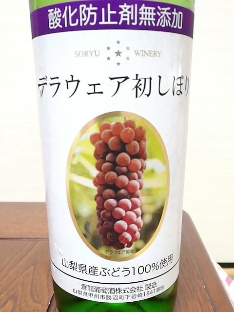 蒼龍葡萄酒 酸化防止剤無添加 デラウェア 初しぼり