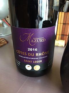 Dom. Mazurd Côtes du Rhône Saint Leger(ドメーヌ・マズール コート・デュ・ローヌ サン・レジェ)