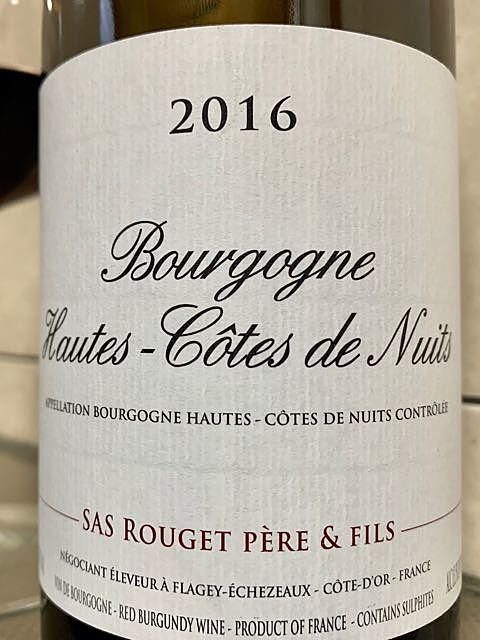 SAS Rouget Père & Fils Bourgogne Hautes Côtes de Nuits Rouge(SAS ルジェ・ペール・エ・フィス ブルゴーニュ・オート・コート・ド・ニュイ ルージュ)