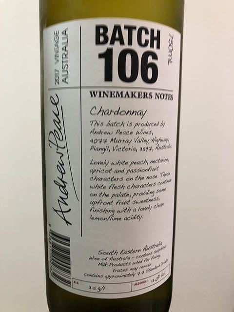 Winemakers Notes by Andrew Peace Batch 106(ワインメーカーズ・ノート・バイ・アンドリュー・ピース バッチ・106)