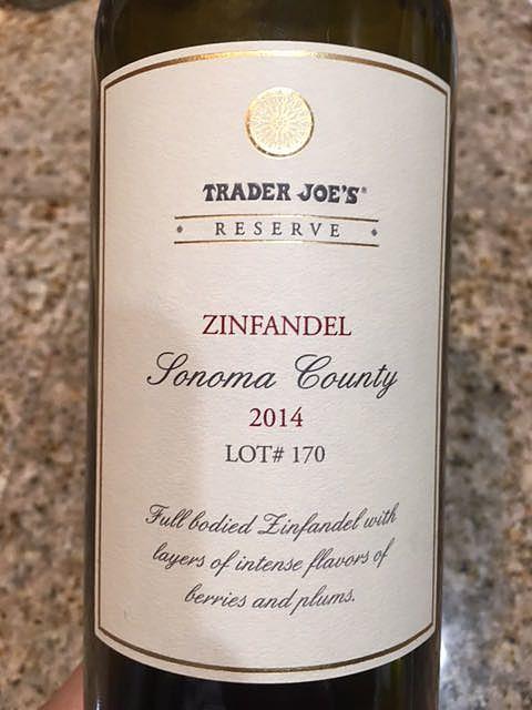 Trader Joe's Reserve Zinfandel Sonoma Couty Lot# 170(トレーダー・ジョーズ リザーブ ジンファンデル ソノマ・カウンティ)