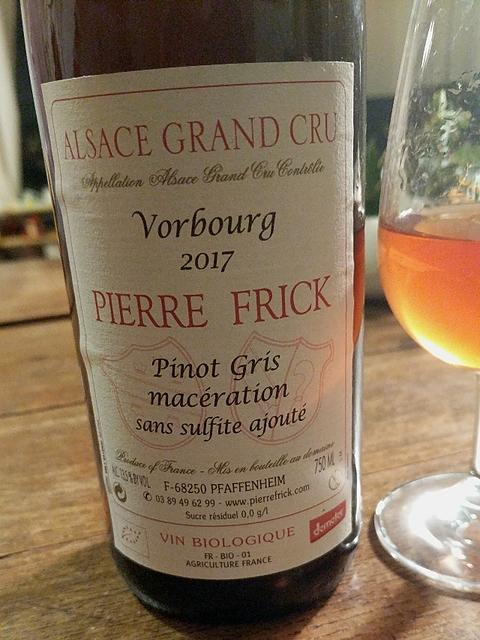 Pierre Frick Pinot Gris Macération Vorbourg Grand Cru Sans Sulfite Ajouté