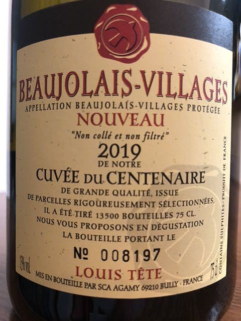 Louis Tête Beaujolais Villages Nouveau Cuvée du Centenaire(ルイ・テット ボージョレ・ヴィラージュ・ヌーヴォー キュヴェ・ドゥ・サントネール)
