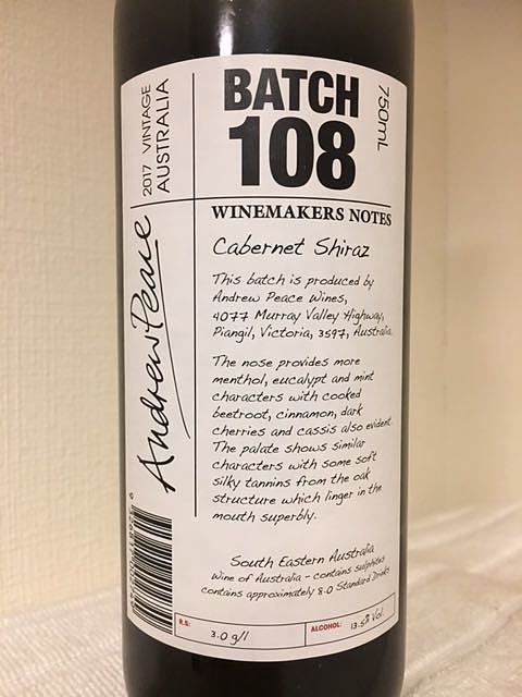 Winemakers Notes by Andrew Peace Batch 108