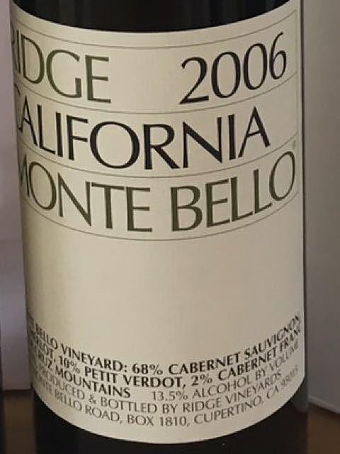 Ridge Monte Bello 2006(リッジ モンテ・ベロ)
