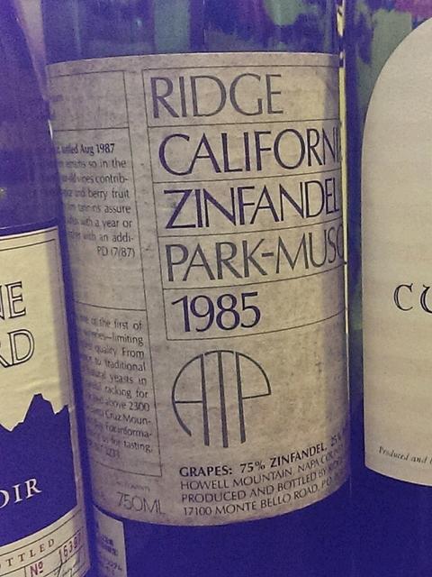 Ridge California Zinfandel Park Muscatine 1985