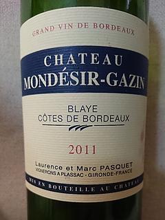 Ch. Mondésir Gazin Blaye Côtes de Bordeaux(シャトー・モンデジール・ガザン)