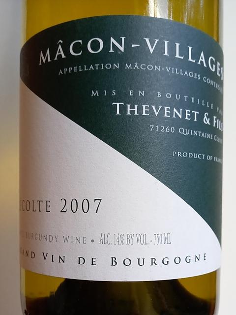 Thevenet Quintaine (Thevenet et Fils) Mâcon Villages(テヴネ・カンテーヌ マコン・ヴィラージュ)