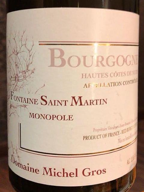 Dom. Michel Gros Bourgogne Hautes Côtes de Nuits Rouge Fontaine Saint Martin Monopole