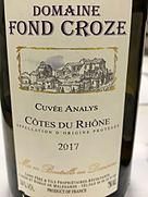 Dom. Fond Croze Côtes du Rhône Cuvée Analys(2017)
