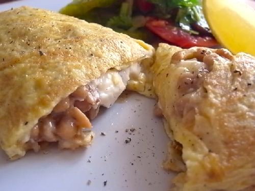 natto cheese omelette