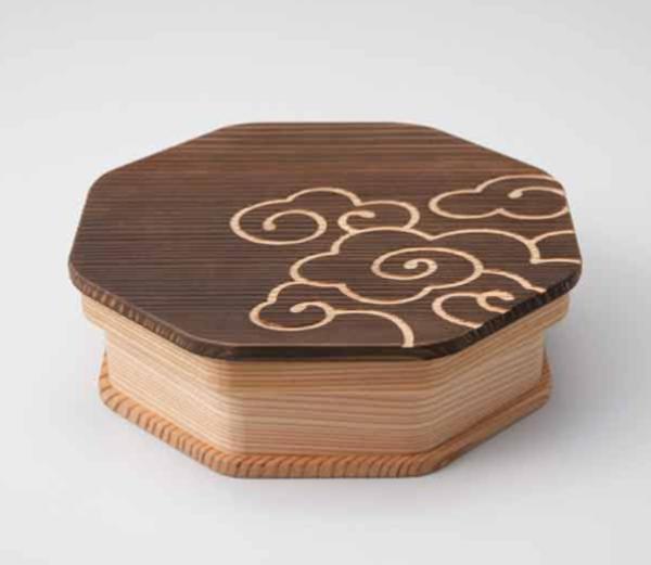 vivienne style 八角一段お弁当箱(小)白刻・黒刻/雲文柄(lunch box)|常吉(TSUNEKICHI)