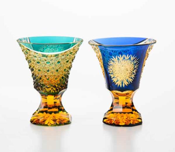馬上杯(アンバークリスタル)(bajouhai<amber crystal>)|江戸切子 門脇硝子(EDOKIRIKO KADOWAKIGLASS)